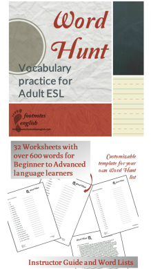 Word Hunt Vocabulary practice for Adult ESL