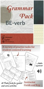 Grammar Pack BE-verb - noticing, practicing, and producing activities, Task Cards, questions Speaking activity, and more!